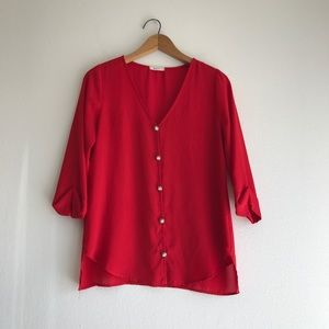 Everly Red Sheer Button Down Blouse Size Small